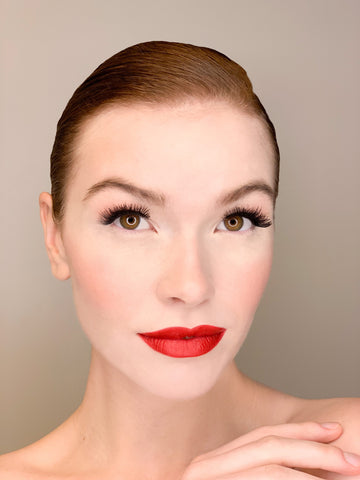 Red lips bold look with The Base Foundation
