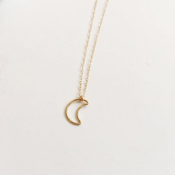 14k Gold Filled Crescent Moon Necklace-Women Necklace-Gold as Ice
