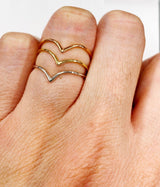 14k Gold Minimalist V Shape Stacking Ring-Women Ring-Gold as Ice