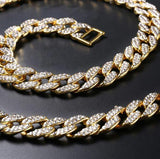 14K Gold Plated 18mm Crew Iced Out Cuban Chain-Men Necklace-Gold as Ice