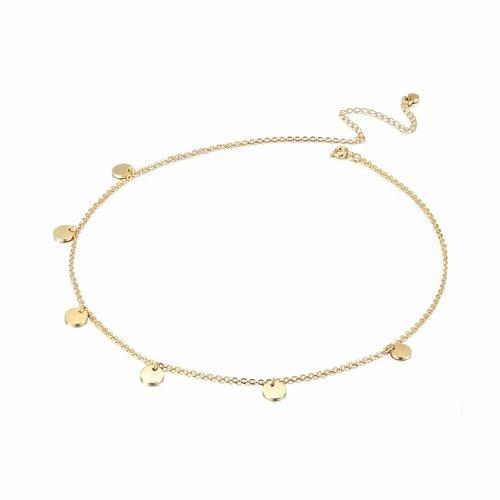 14k gold plated Discs Dangle Charm Necklace-Women Necklace-Gold as Ice