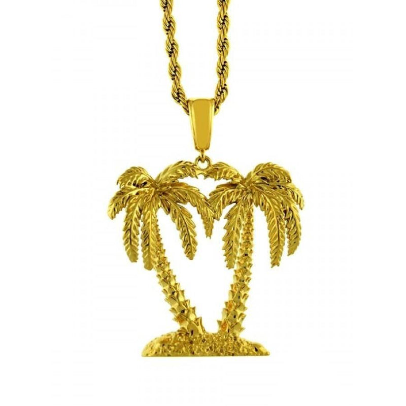 14K Gold Plated Twin Palm Tree Necklace-Men Necklace-Gold as Ice