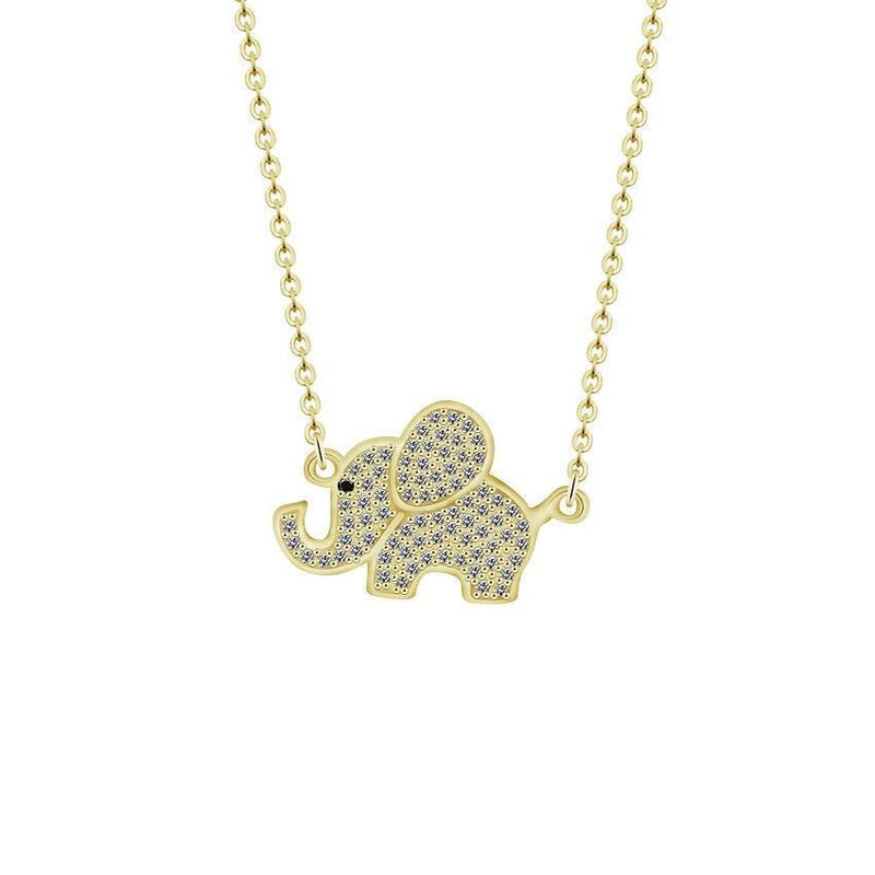 14K Gold Plated Zirconia Good Luck Baby Elephant Necklace-Women Necklace-Gold as Ice