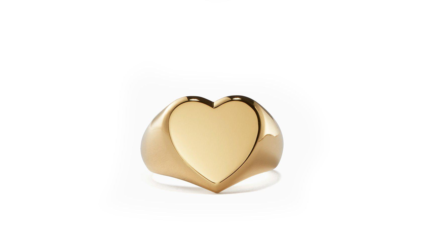 18K Gold Plated Return to Sender Heart Signet Ring-Women Ring-Gold as Ice