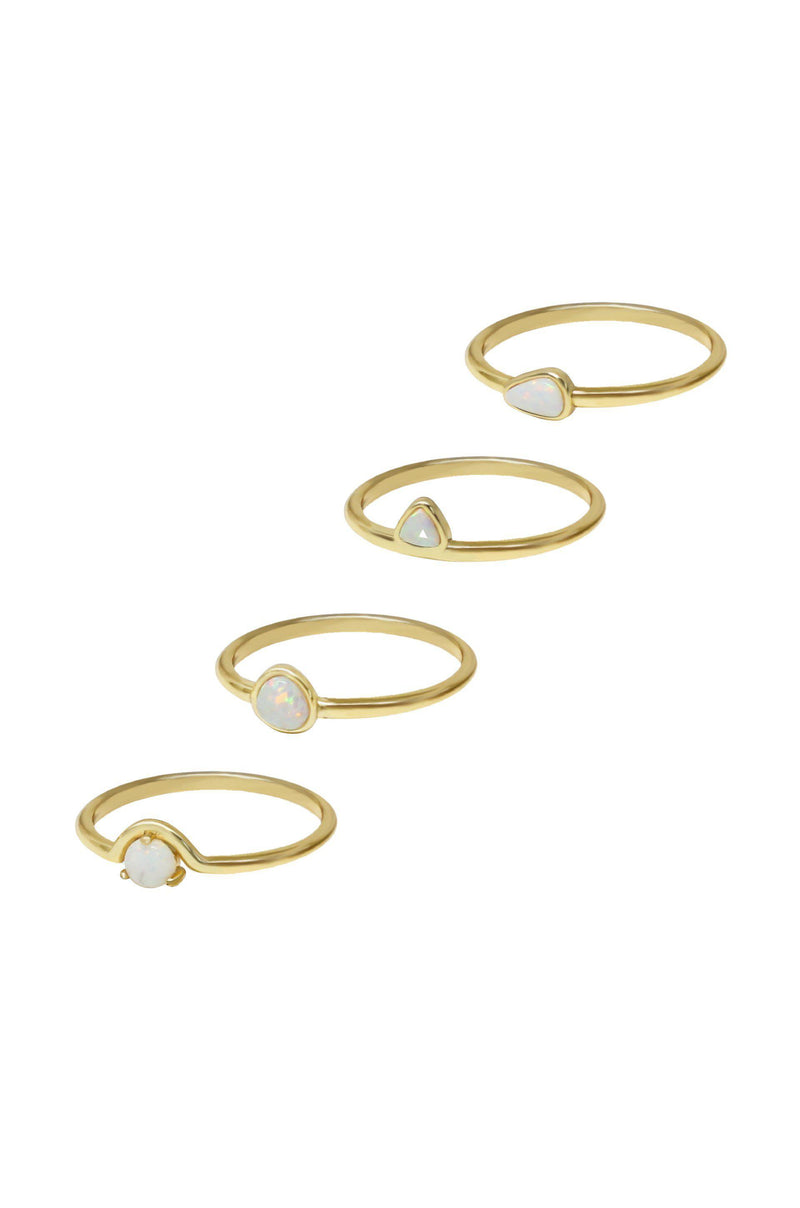 18k Gold Plated Ring Set of 4 True Opal Stackers-Women Ring-Gold as Ice