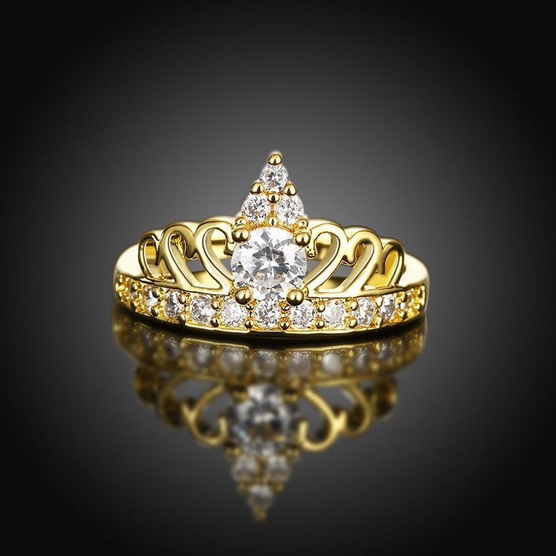 18K Gold Plated Swarovski Crystals Princess Alice Ring-Women Ring-Gold as Ice