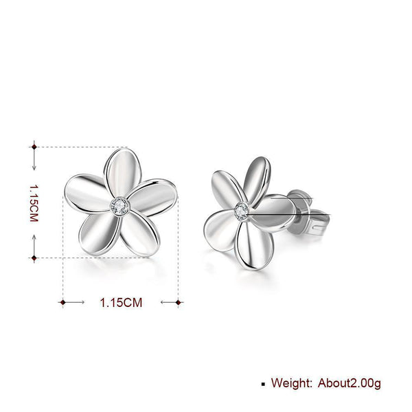 18K White Gold Plated Swarovski Crystal Flower Stud Earring-Women Earring-Gold as Ice