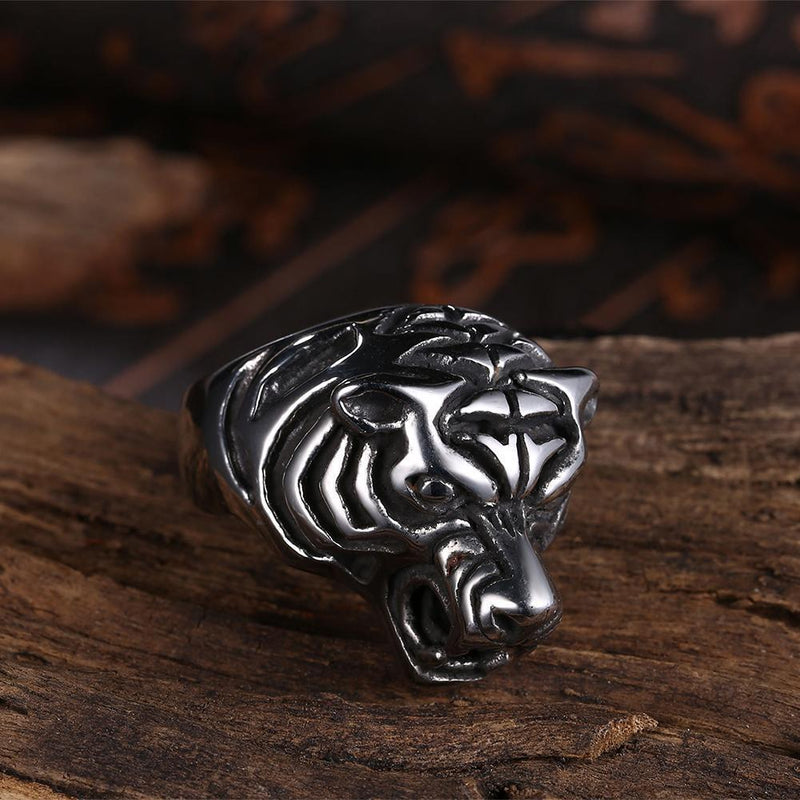 18K White Gold Plated Tiger Signet Ring-Men Ring-Gold as Ice