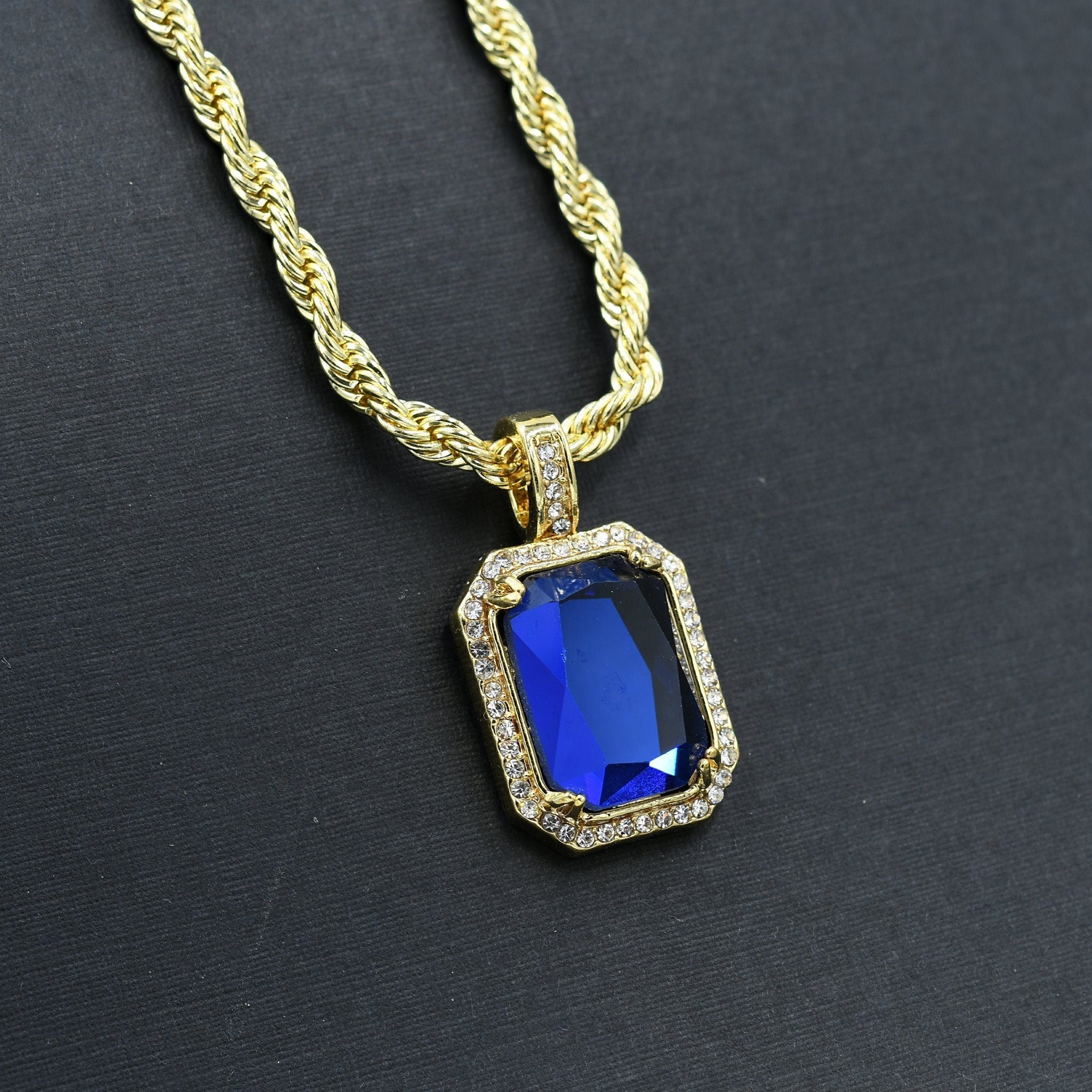 Blue Saphire Colored Gemstone Necklace-Men Necklace-Gold as Ice