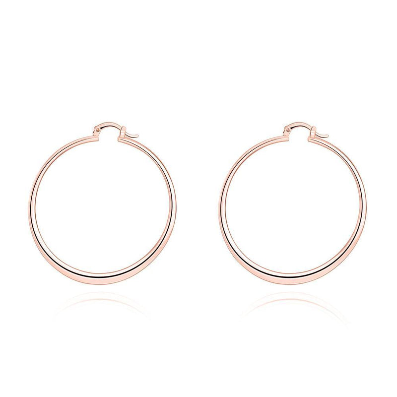 "2"" Flat Hoop Earrings in 18K Rose Gold Plated-Women Earrings-Gold as Ice"