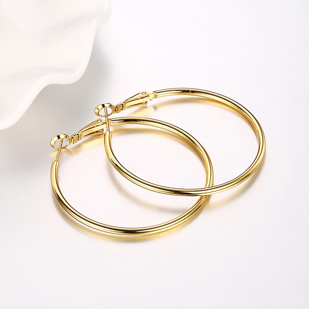 42mm Round Hoop Earring in 18K Gold Plated-Women Earring-Gold as Ice