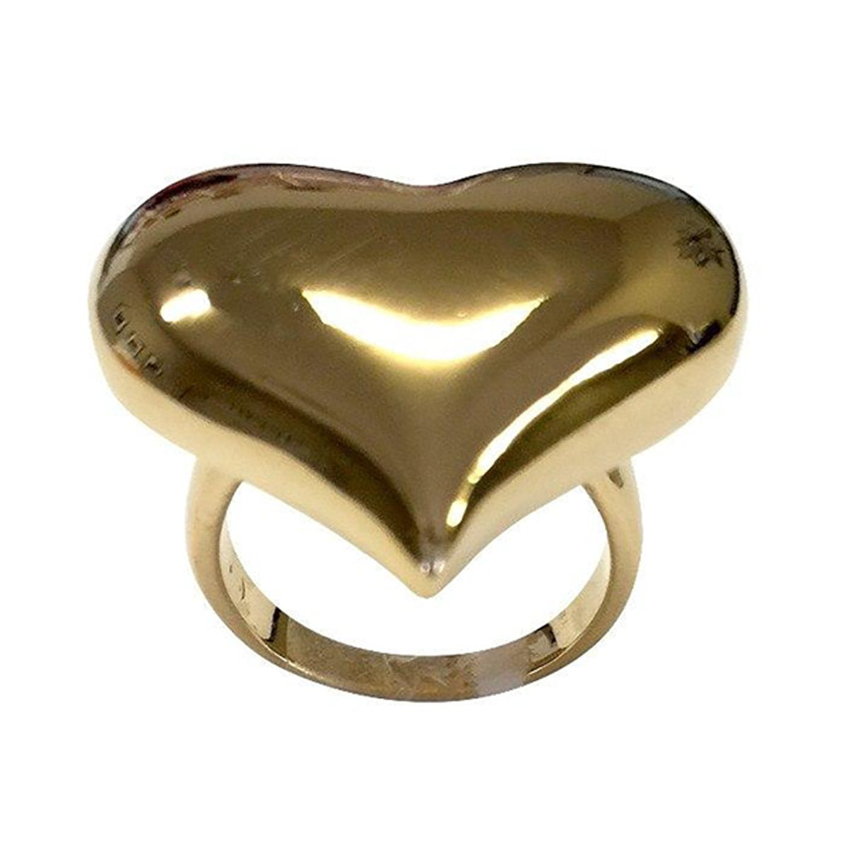 Solid Large Puff Heart Gold Tone Ring-Women Ring-Gold as Ice