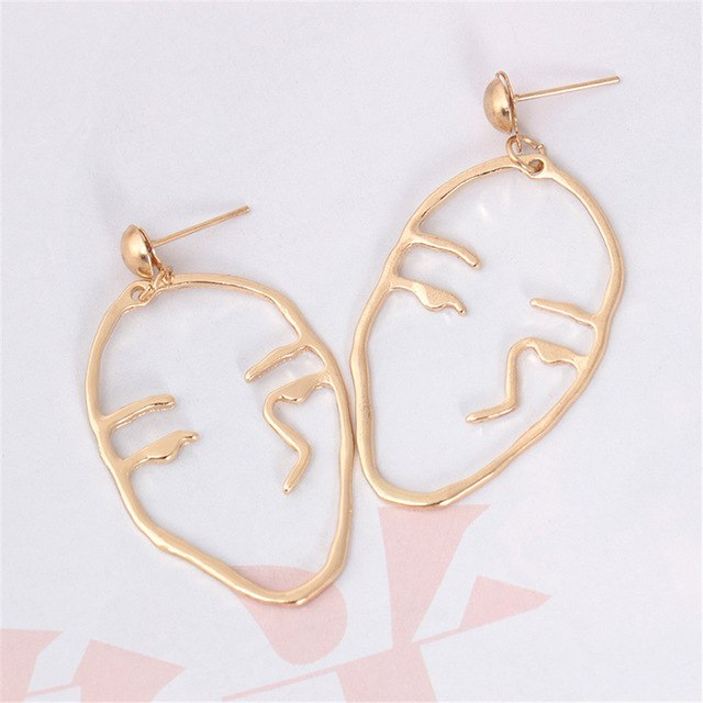 Retro Abstract Cutout Face Earrings-Women Earring-Gold as Ice