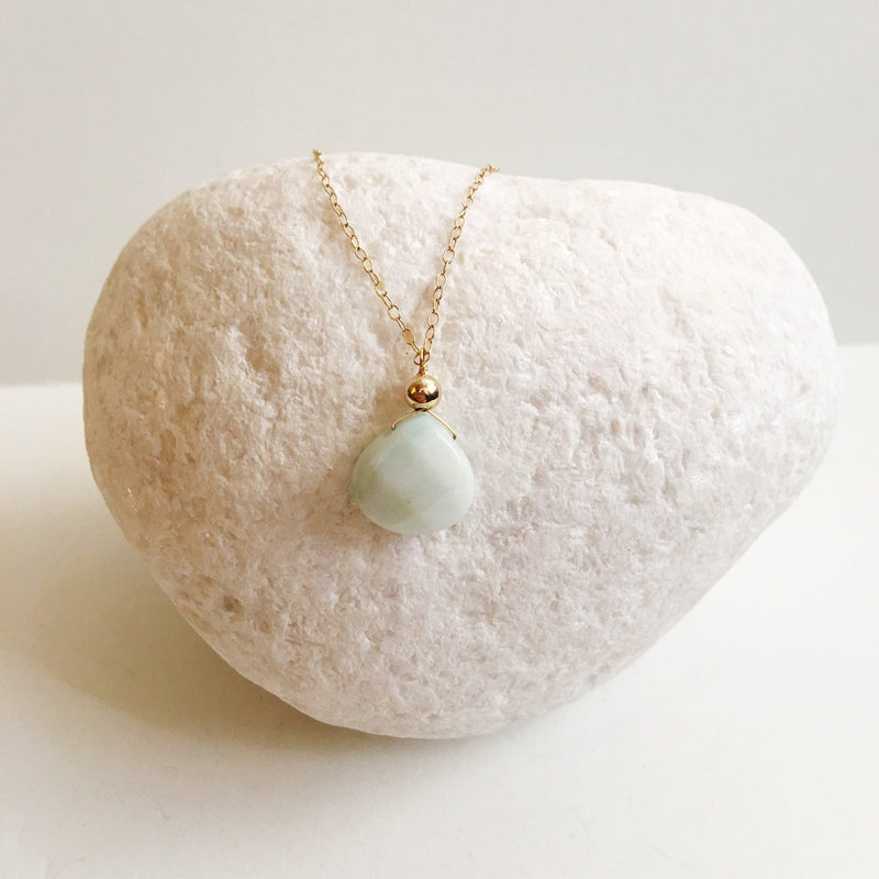 Amazonite Pendant Wire Wrapped Necklace-Women Necklace-Gold as Ice