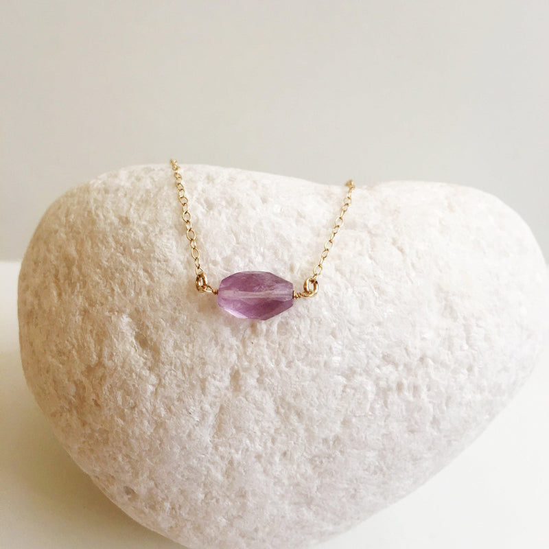 Amethyst Faceted Oval Minimalist Necklace-Women Necklace-Gold as Ice