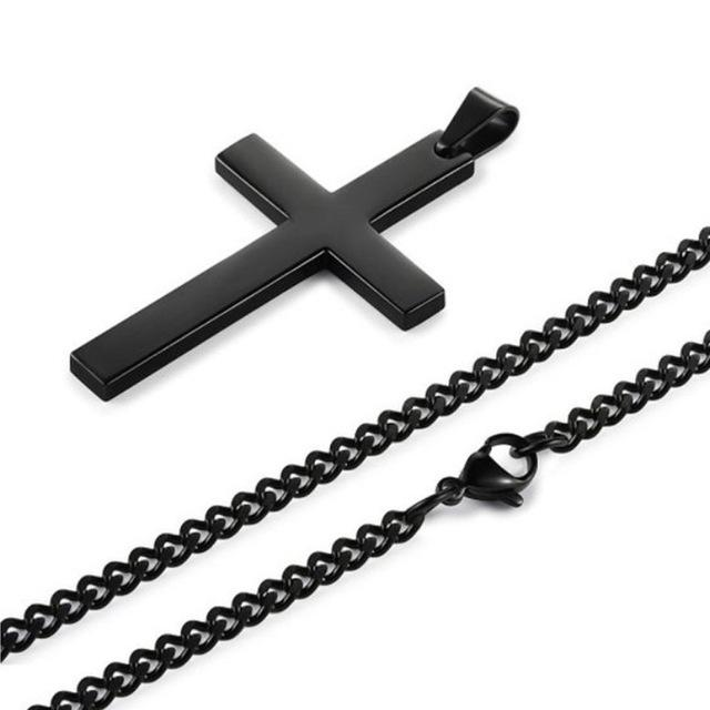 Black Cross Necklace-Unisex Necklace-Gold as Ice