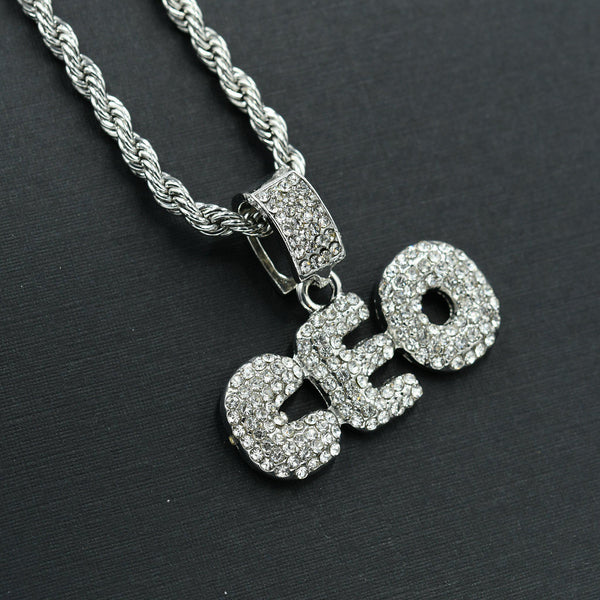 CEO Iced Out Necklace-Men Necklace-Gold as Ice