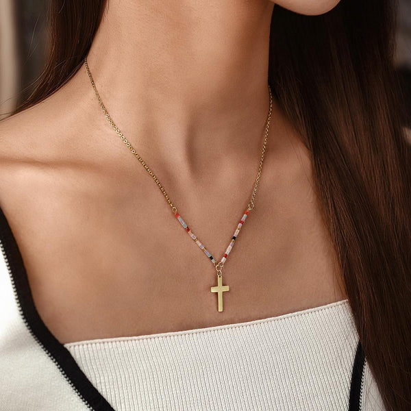 Colorful Beaded Cross Necklace-Women Necklace-Gold as Ice