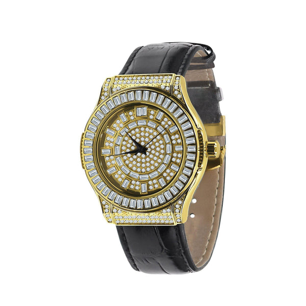 Conspicuous YEllow Gold Bling Leather Watch-Men Watch-Gold as Ice