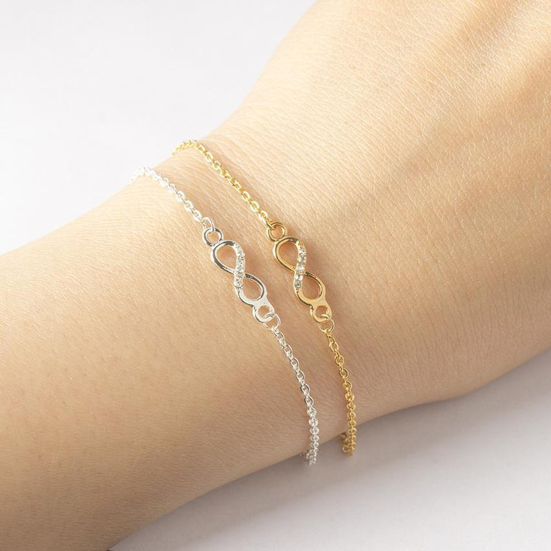 Crystal Cubic Zirconia 14K Gold Plated Infinity Bracelet-Women Bracelet-Gold as Ice