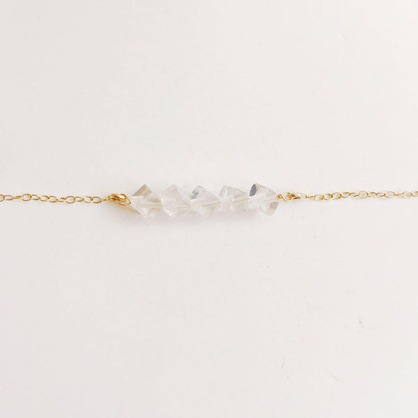 Crystal Quartz Square Minimalist Wire Wrapped Necklace-Women Necklace-Gold as Ice