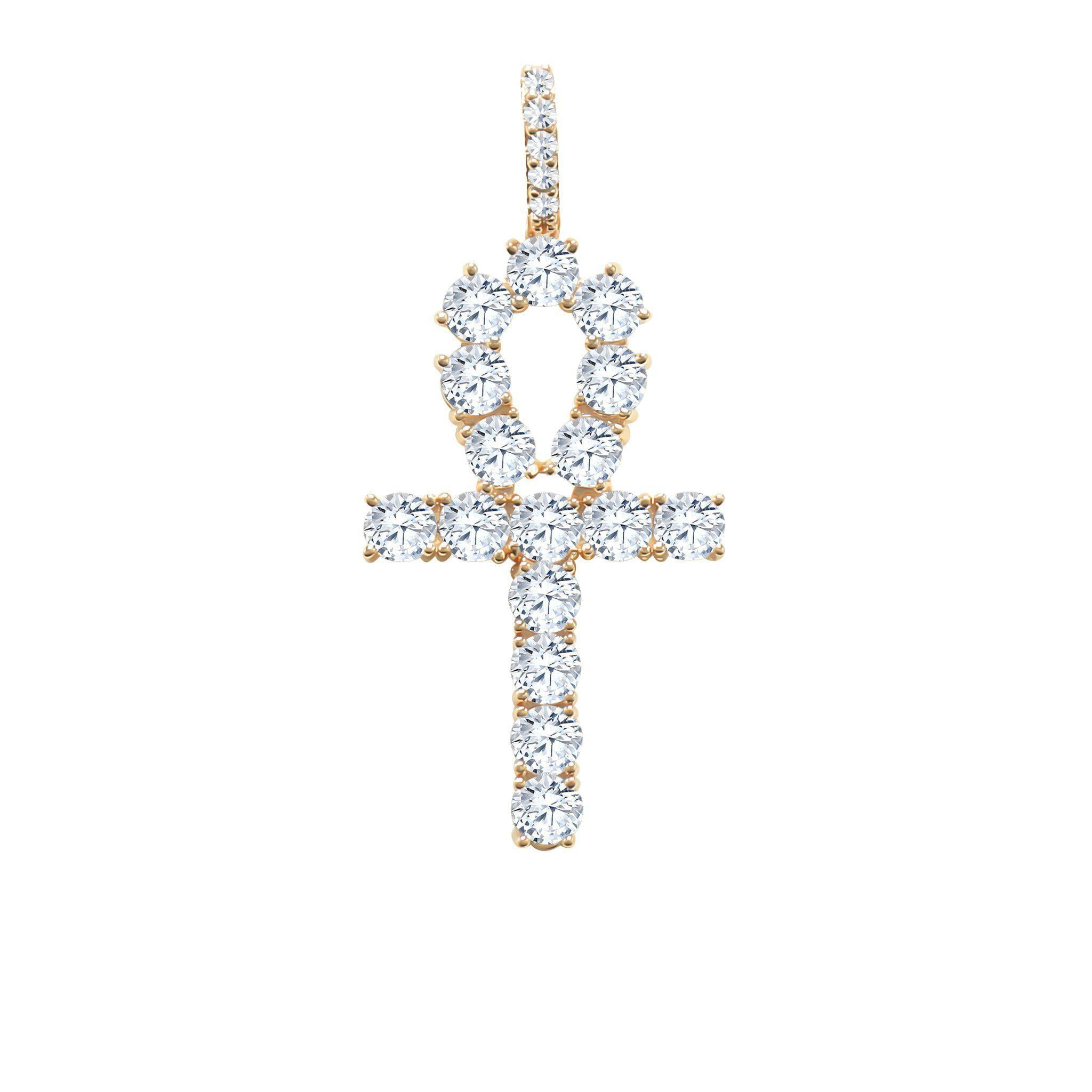 CZ Cross Pendant Only-Men Necklace-Gold as Ice