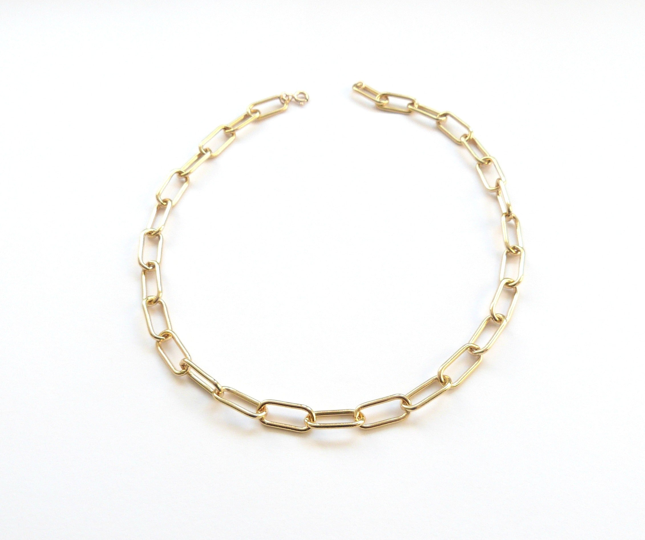 Chunky Gold filled Paperclip Necklace-Women Necklace-Gold as Ice