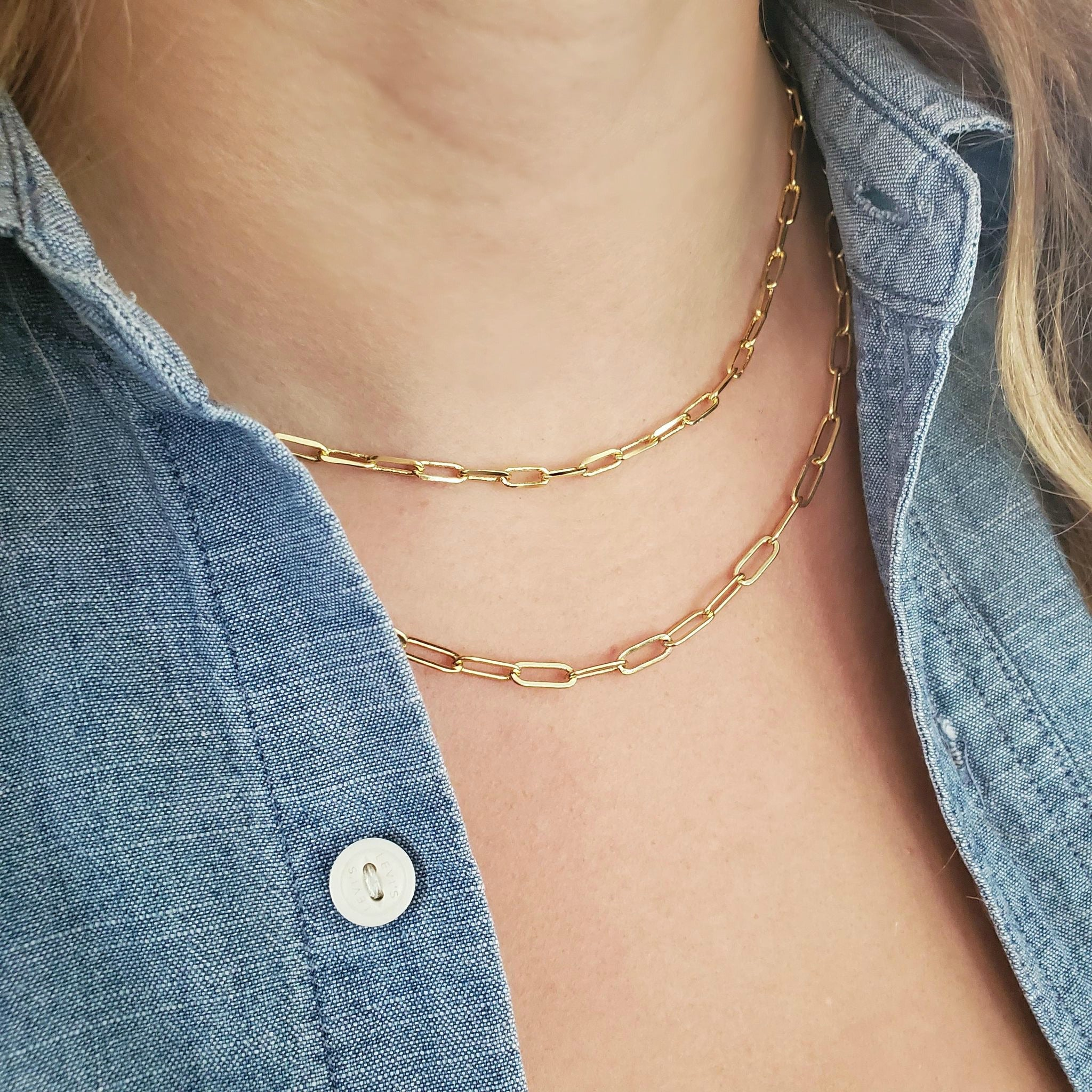 Gold Filled Regular Paperclip Chain Necklace-Women Necklace-Gold as Ice