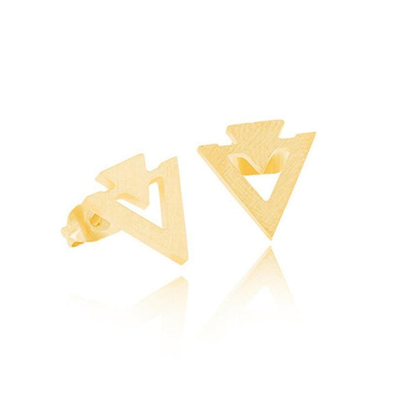 Double Arrow Triangle Ear Stud Earrings-Women Earring-Gold as Ice