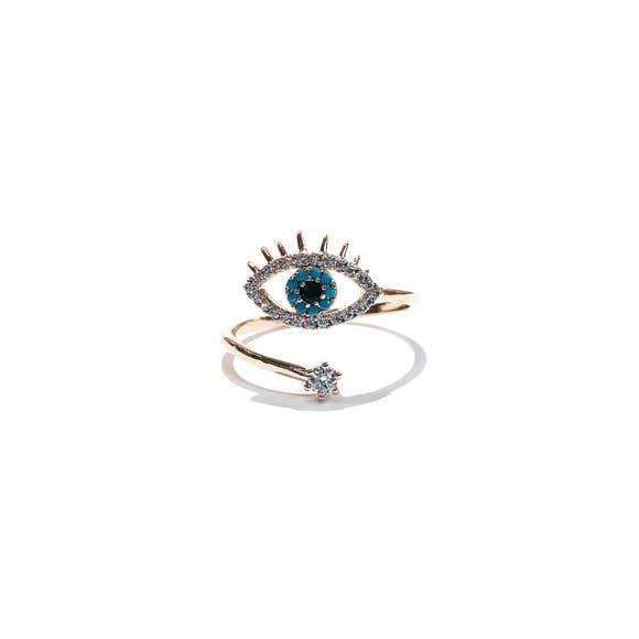 Evil Eye Protection Star Adjustable Ring-Women Ring-Gold as Ice