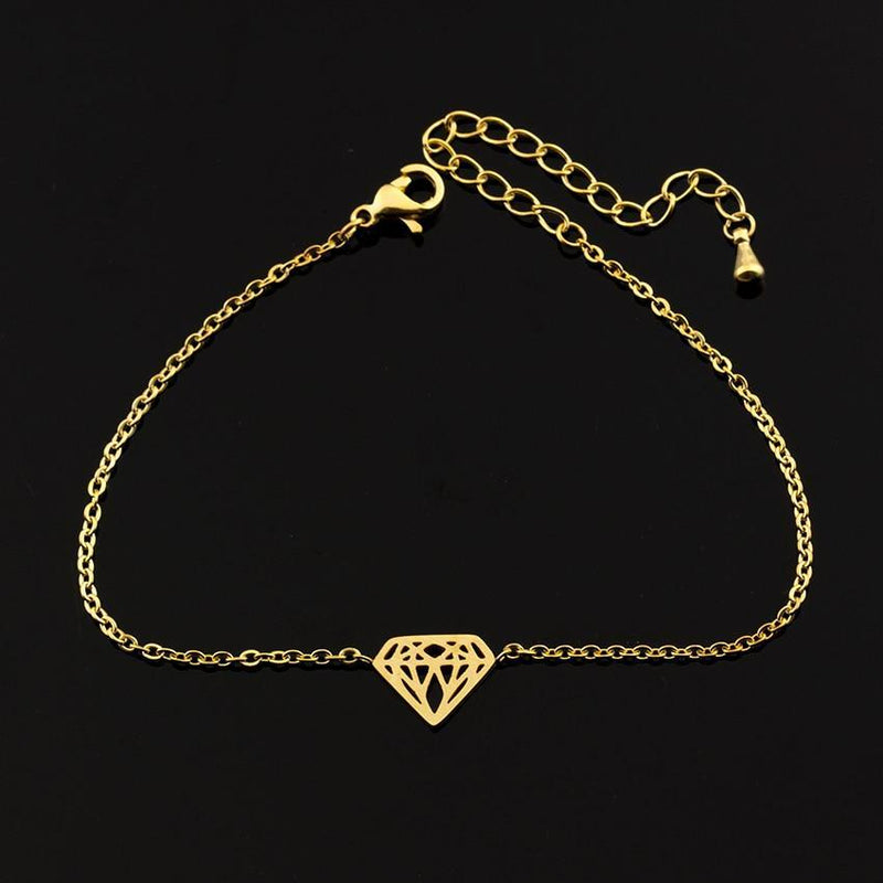 Flat Diamond Bracelet-Women Bracelet-Gold as Ice