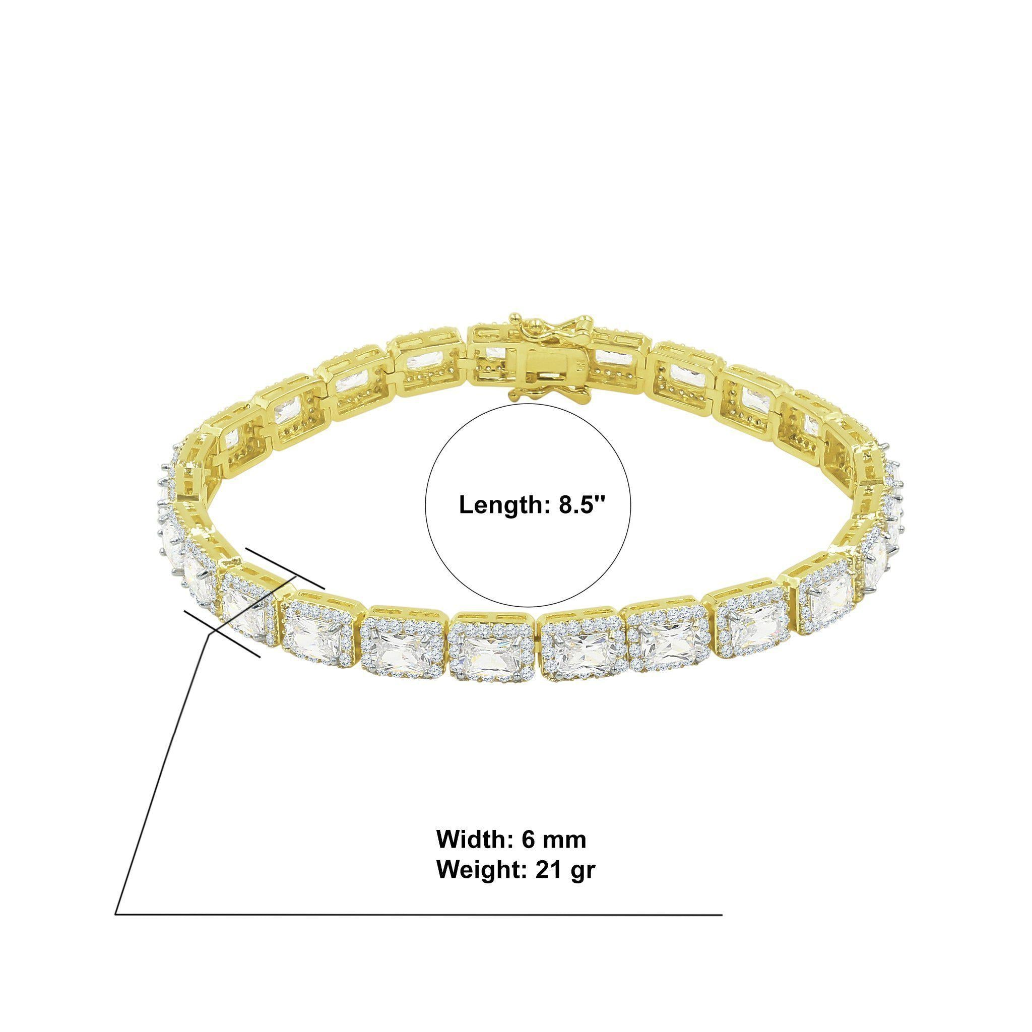 Foxy 6mm Square Tennis Bracelet-Men Bracelet-Gold as Ice