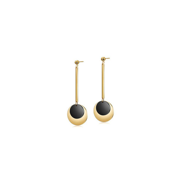 Gold & Black Discs Dangle Earrings-Women Earring-Gold as Ice
