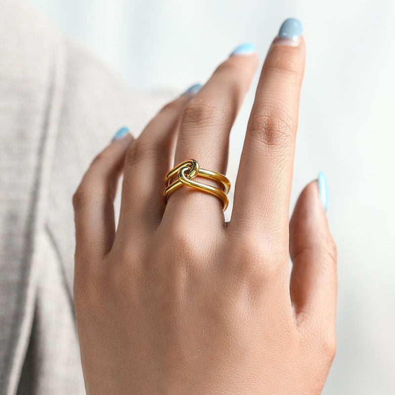 Gold Love Knot Ring-Women Ring-Gold as Ice