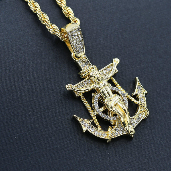Gold Plated Anchor Cross Necklace-Men Necklace-Gold as Ice