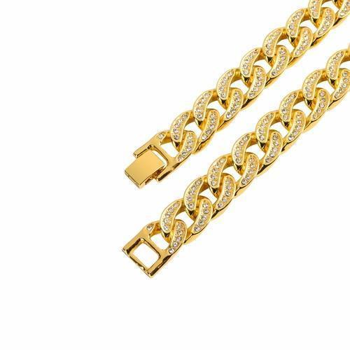 Gold Plated Crew Bm 13 mm Cuban Chain-Men Necklace-Gold as Ice