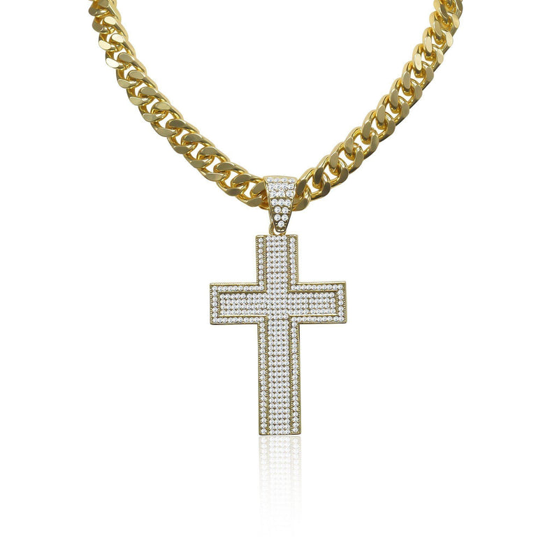 Gold Plated Cross Iced Out Necklace Chain-Men Necklace-Gold as Ice