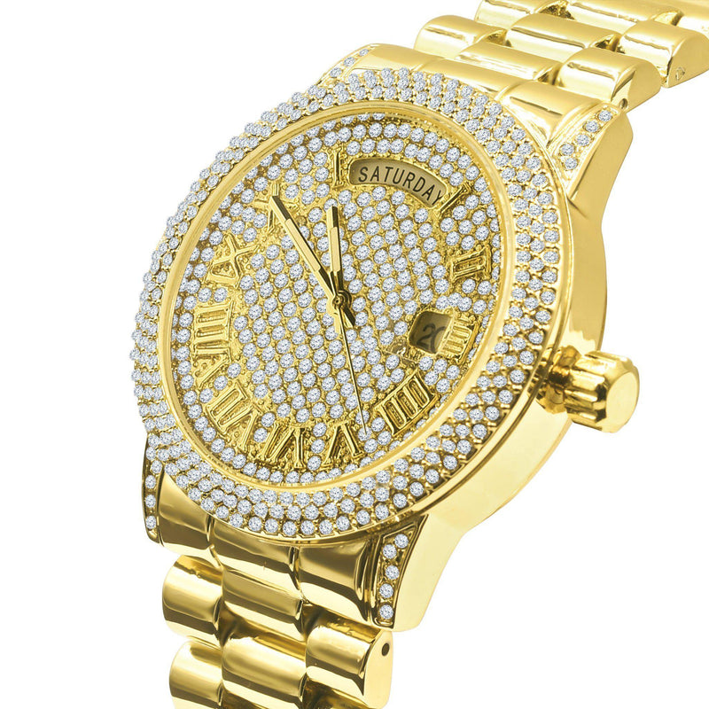 Gold Plated & Crystal Stone Iced Out Watch-Men Watch-Gold as Ice