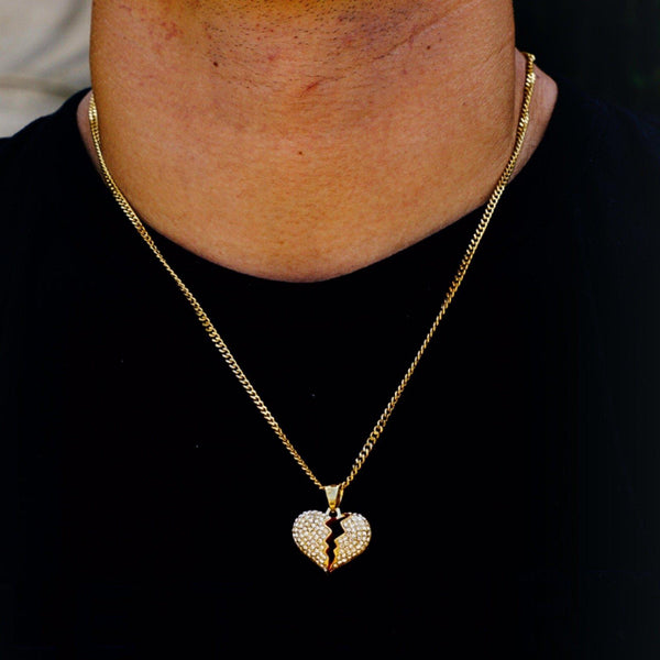 Gold Plated Heartbreak Steel Necklace-Men Necklace-Gold as Ice