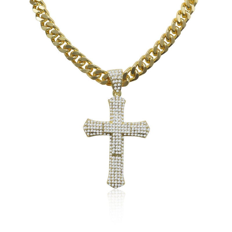 Gold Plated Iced Out Cross Necklace Chain-Men Necklace-Gold as Ice