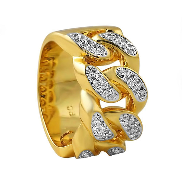 Gold Plated Iced Out Cuban Link CZ Micro Pave Ring-Men Ring-Gold as Ice