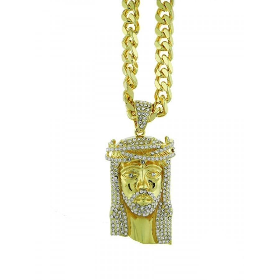 Gold Plated Jesus Chain Necklace-Men Necklace-Gold as Ice