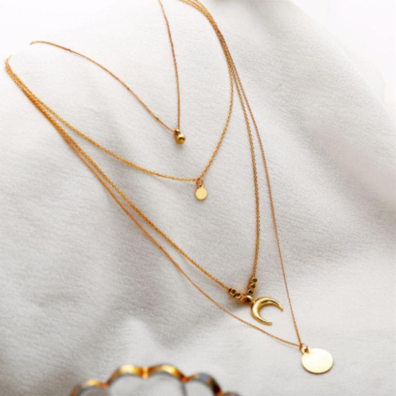 Gold Plated Moon & Sun Four Layer Necklace-Women Necklace-Gold as Ice