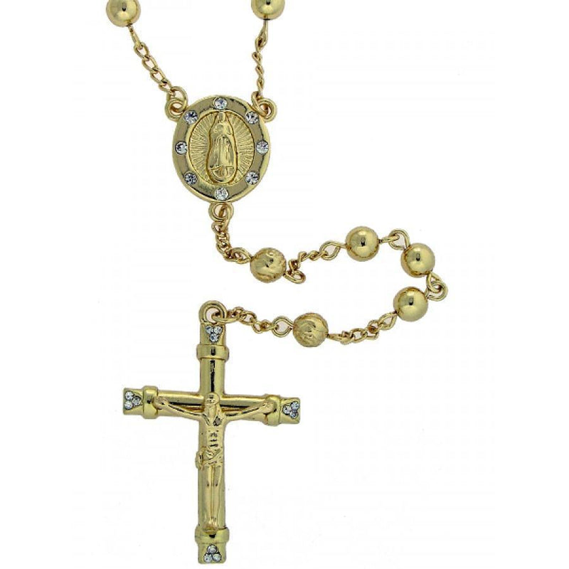 Gold Plated Rosary Necklace-Men Necklace-Gold as Ice