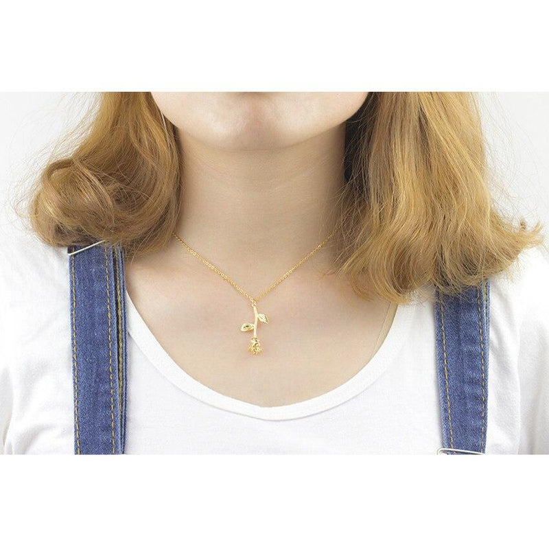 Gold Plated Rose Flower Charm Stainless Steel Chain Necklace-Women Necklace-Gold as Ice
