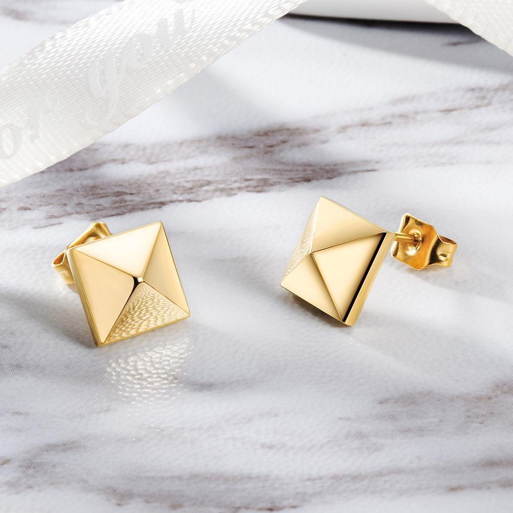 Gold Square Studs Earrings-Women Earring-Gold as Ice