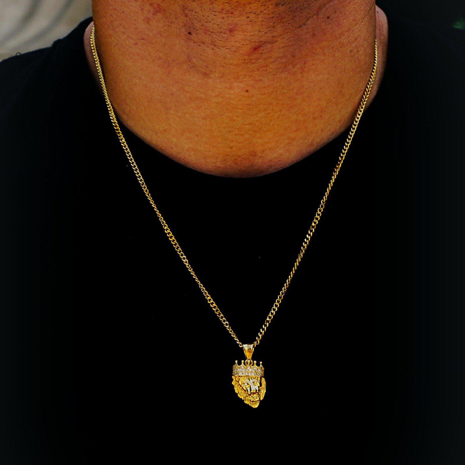 Ice King Lion Steel Micro Necklace-Men Necklace-Gold as Ice