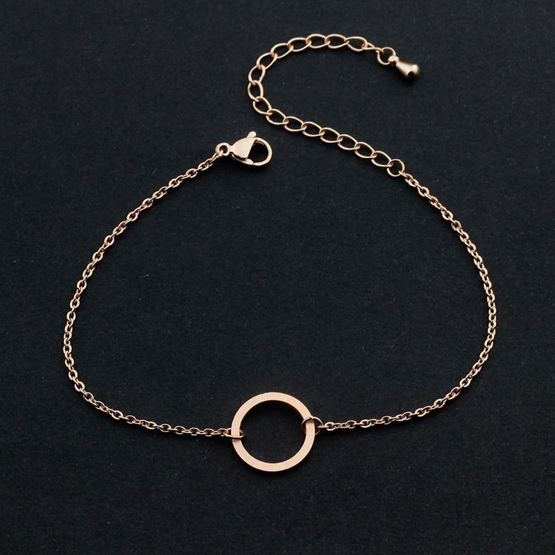 Karma Circle Link Chain Bracelet-Women Bracelet-Gold as Ice