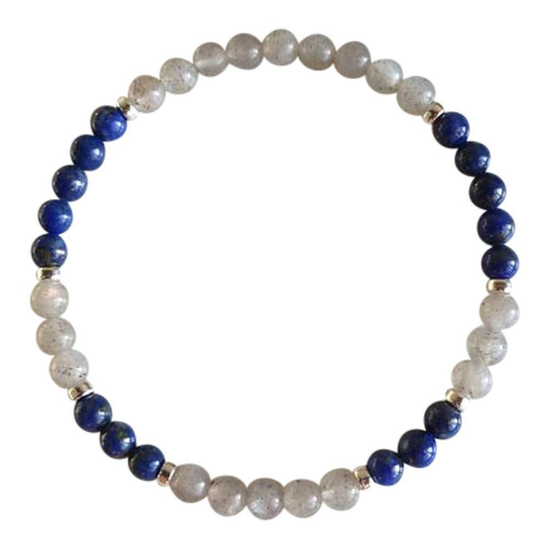 Labradorite & Lapis Lazuli Sterling Silver Bracelet-Women Bracelet-Gold as Ice