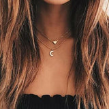 Moon and Heart Two Layer Necklace-Women Necklace-Gold as Ice
